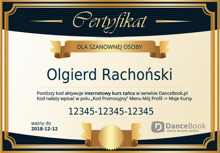 Certyfikat podarunkowy na kurs tańca online na DanceBook